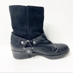 Franco Sarto Benton Mid Calf Black Leather Boots